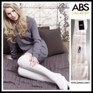 ABS TALL OVER THE KNEE IVORY WHITE BOOT SOCKS A2C